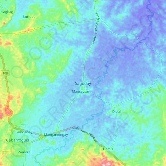 Saguday topographic map, relief map, elevations map