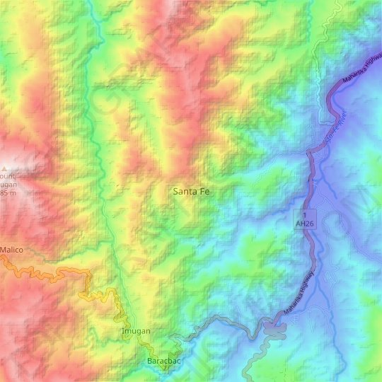 Santa Fe topographic map, elevation, relief