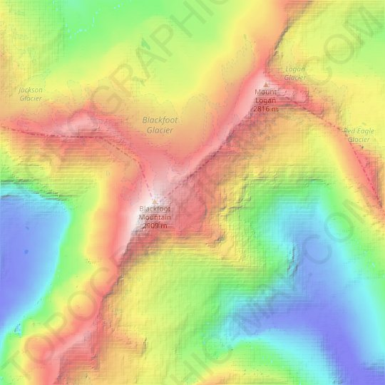 Pumpelly Glacier topographic map, relief map, elevations map