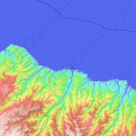 Trabzon topographic map, relief map, elevations map