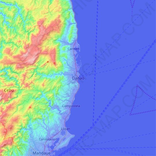Danao topographic map, relief map, elevations map