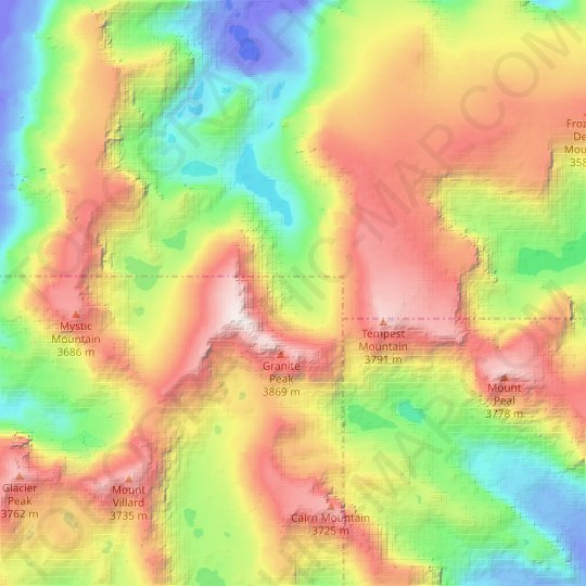 Granite Glacier topographic map, relief map, elevations map