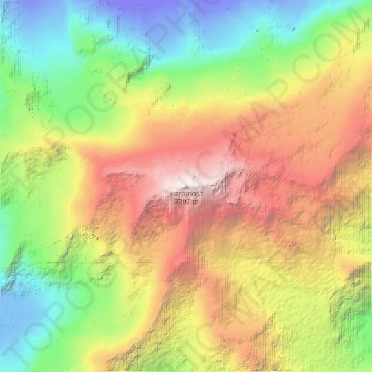 Haramosh topographic map, relief map, elevations map