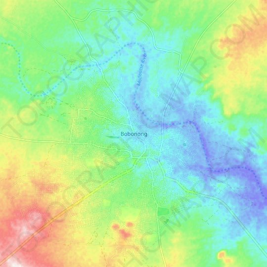 Bobonong topographic map, relief map, elevations map