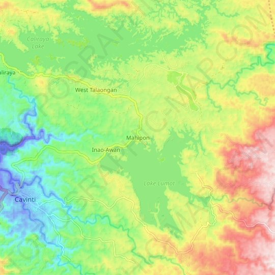 Mahipon topographic map, relief map, elevations map