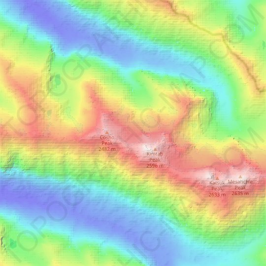 Kimtah Glacier topographic map, relief map, elevations map