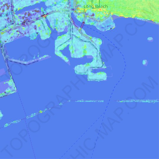 San Pedro Bay topographic map, relief map, elevations map