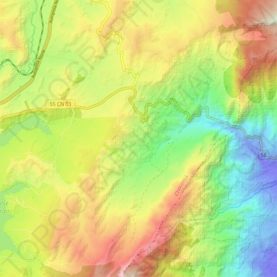 Surala topographic map, relief map, elevations map