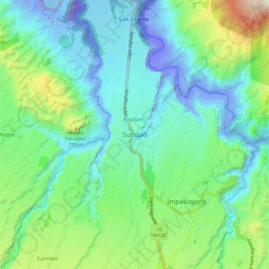 Sumilao topographic map, relief map, elevations map
