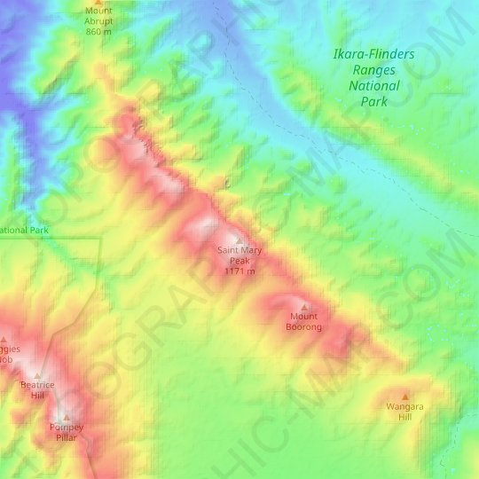 Saint Mary Peak topographic map, relief map, elevations map