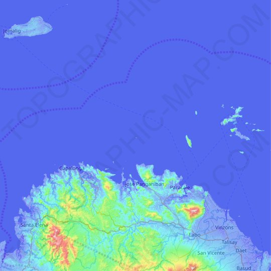Tanao Islands topographic map, relief map, elevations map