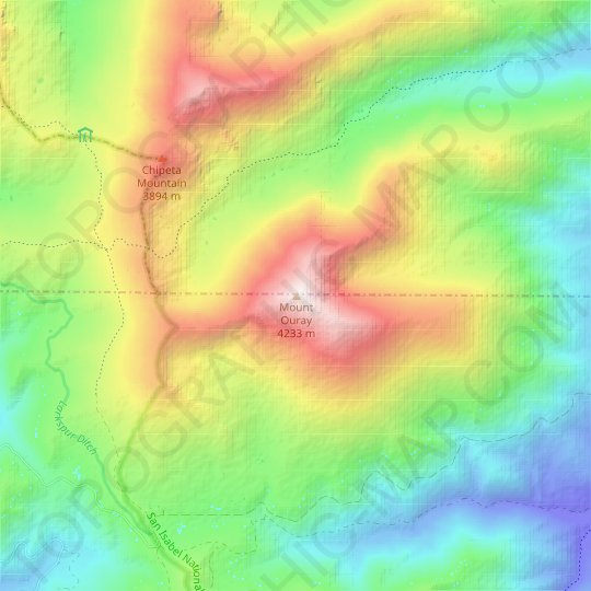 Mount Ouray topographic map, relief map, elevations map