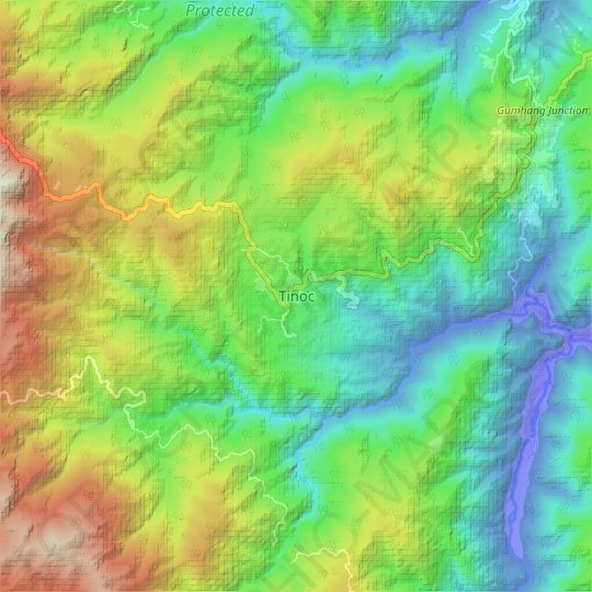 Tinoc topographic map, relief map, elevations map