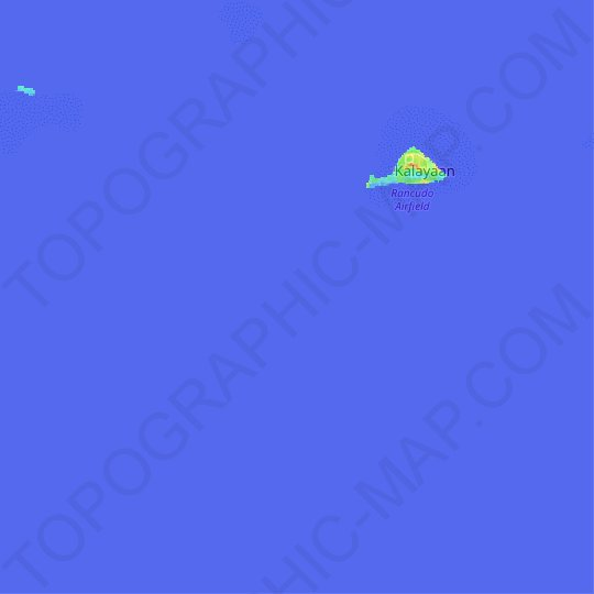 Thitu Reefs topographic map, relief map, elevations map