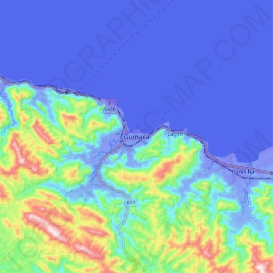 Gumaca topographic map, elevation, relief