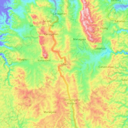 Ilihan topographic map, relief map, elevations map