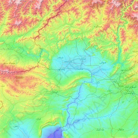 Peshāwar District topographic map, relief map, elevations map