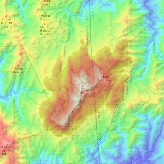 Mount Irid topographic map, elevation, relief