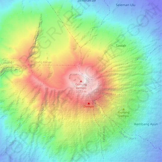 Mount Dempo topographic map, relief map, elevations map