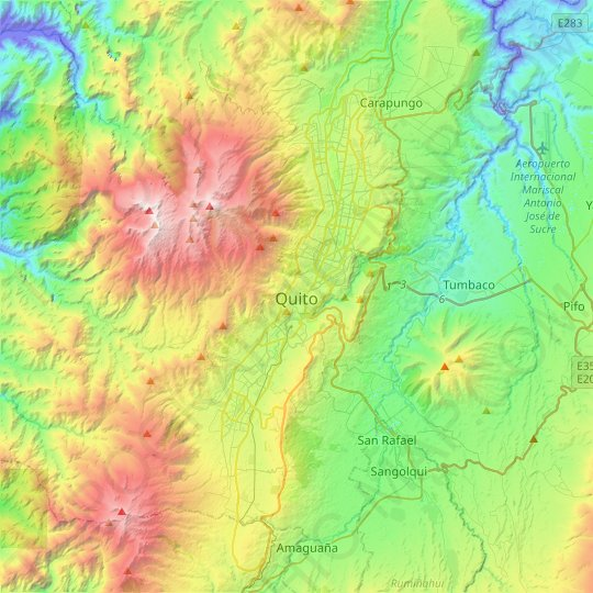 Quito topographic map, elevation, relief