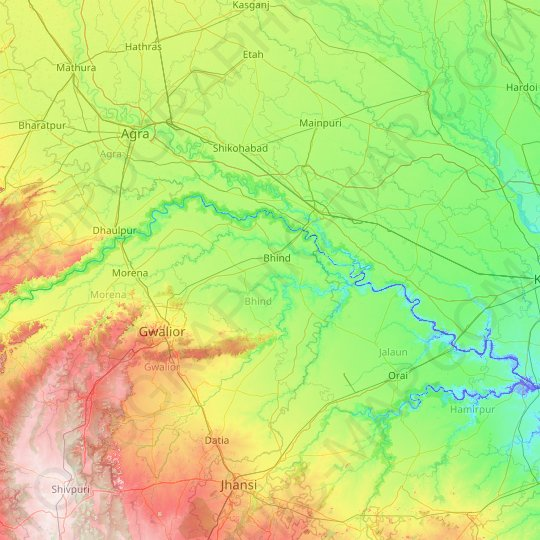 Bhind topographic map, relief map, elevations map