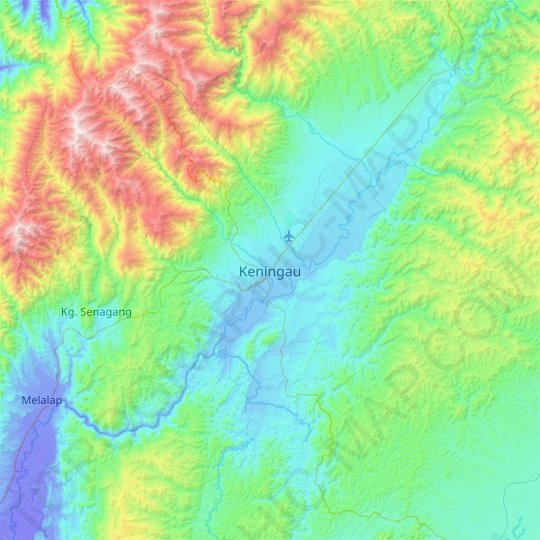 Keningau topographic map, relief map, elevations map