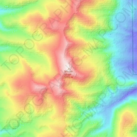 Maiden Peak topographic map, relief map, elevations map