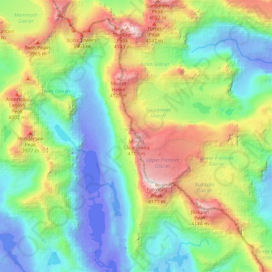 Mount Sacagawea topographic map, relief map, elevations map