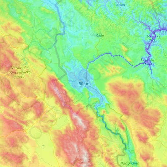 Bihać topographic map, relief map, elevations map