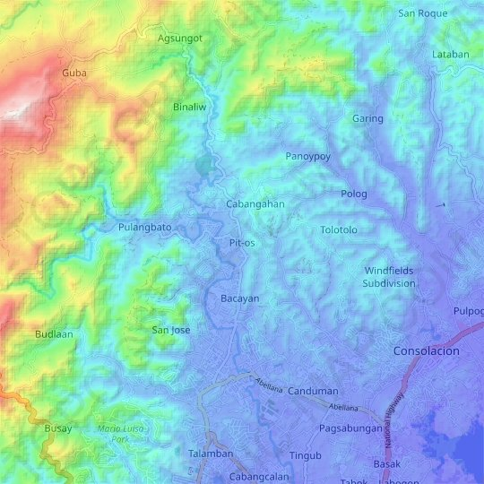 Pit-os topographic map, relief map, elevations map