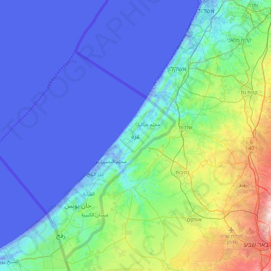 Gaza topographic map, relief map, elevations map
