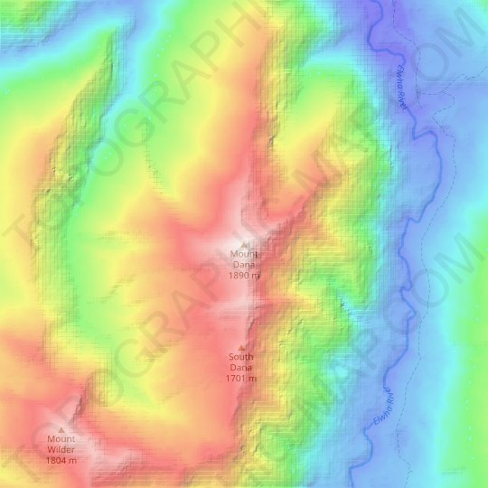 Mount Dana topographic map, relief map, elevations map