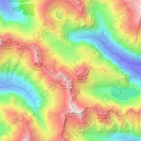 Yawning Glacier topographic map, relief map, elevations map