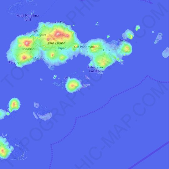 Kamawi Island topographic map, relief map, elevations map