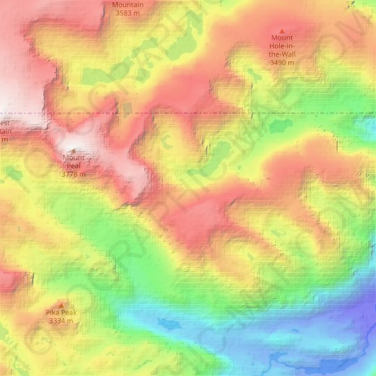 Phantom Glacier topographic map, relief map, elevations map