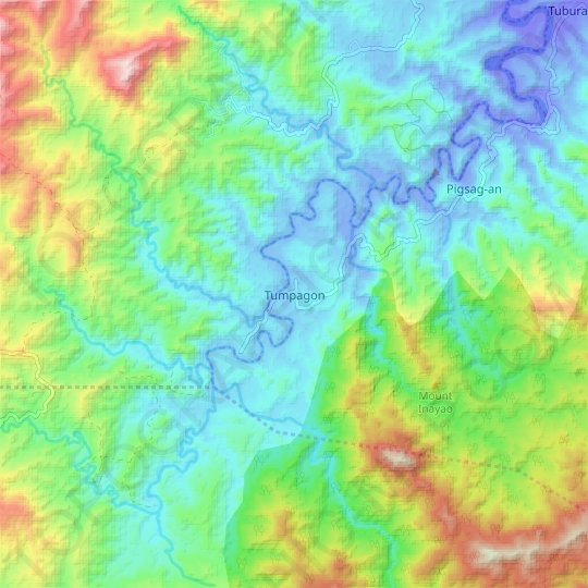 Tumpagon topographic map, elevation, relief