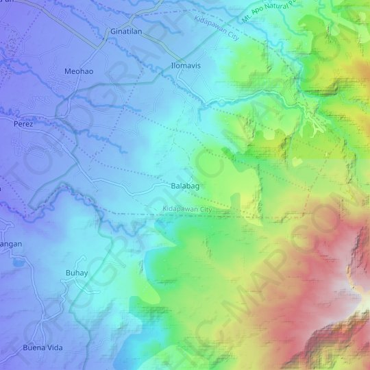 Balabag topographic map, relief map, elevations map
