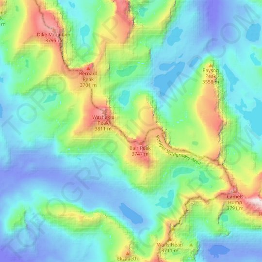 Washakie Glacier topographic map, relief map, elevations map