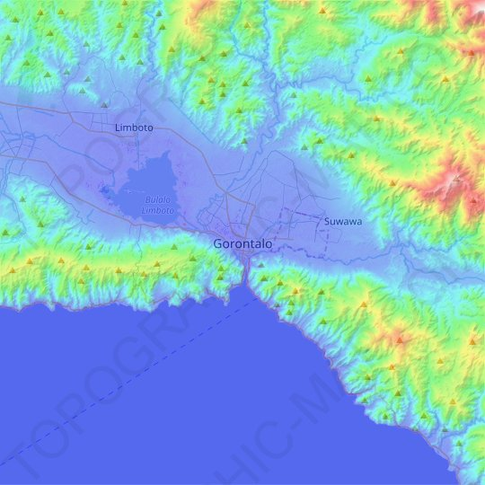 Gorontalo topographic map, relief map, elevations map