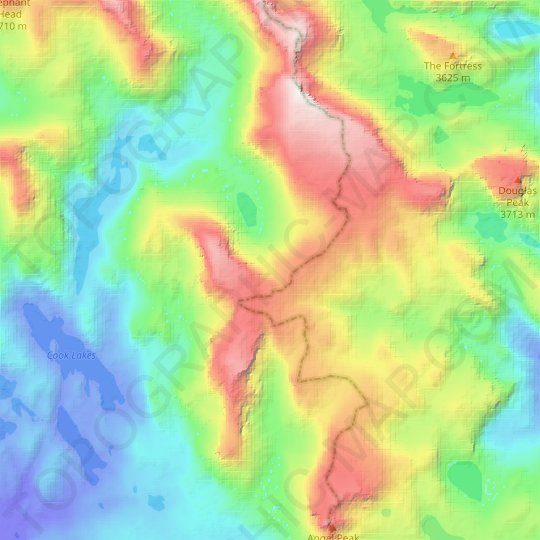 Tiny Glacier topographic map, relief map, elevations map