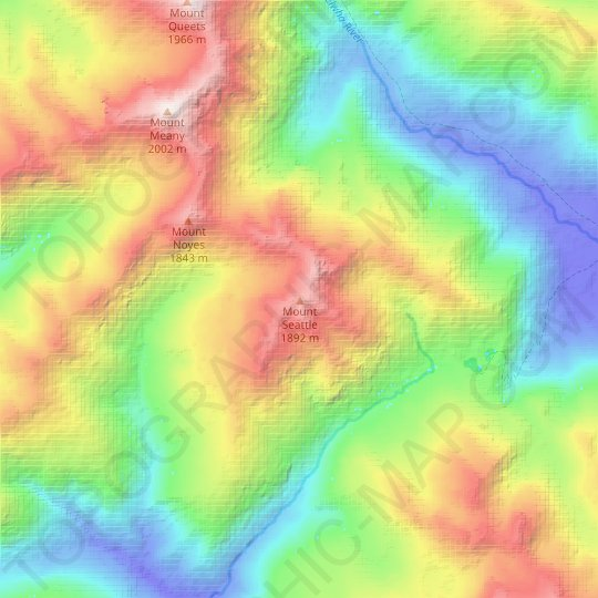 Mount Seattle topographic map, relief map, elevations map