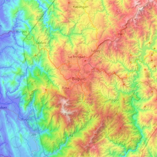 Baguio topographic map, elevation, relief