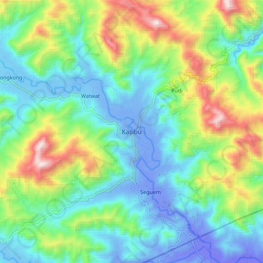 Kasibu topographic map, relief map, elevations map