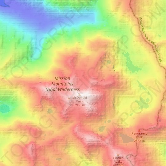 McDonald Glacier topographic map, relief map, elevations map