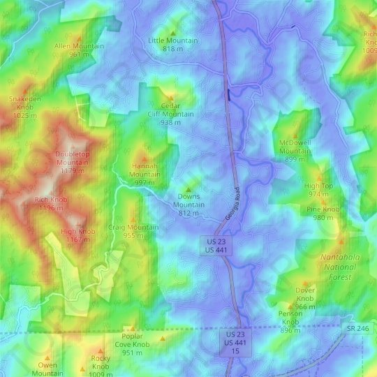 Downs Mountain topographic map, relief map, elevations map