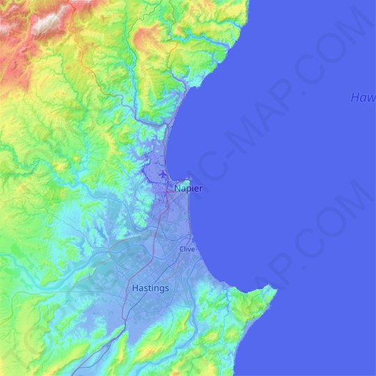 Napier topographic map, relief map, elevations map