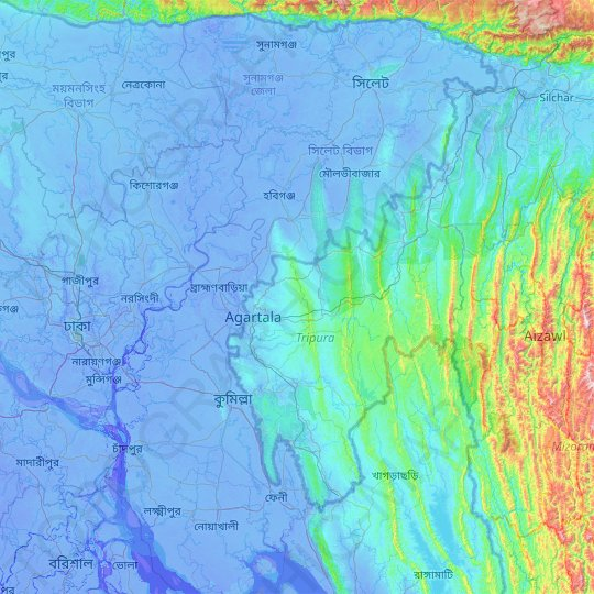 West Tripura topographic map, relief map, elevations map