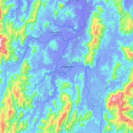 Libacao topographic map, relief map, elevations map