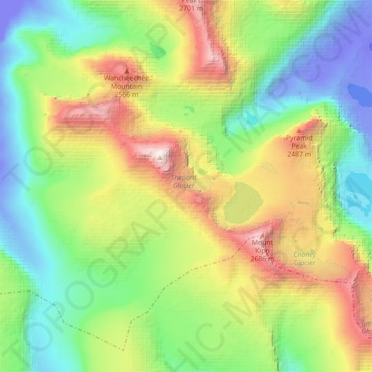 Shepard Glacier topographic map, relief map, elevations map