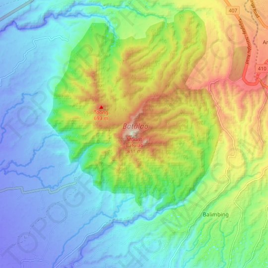 Mount Batulao topographic map, relief map, elevations map